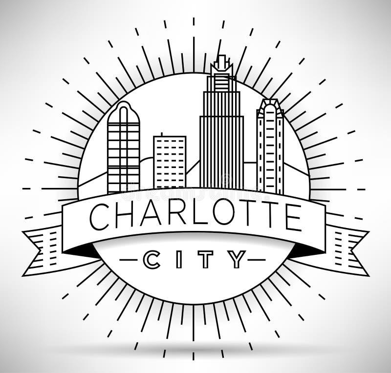 Minimale Charlotte Linear City Skyline mit typografischem Entwurf vektor abbildung