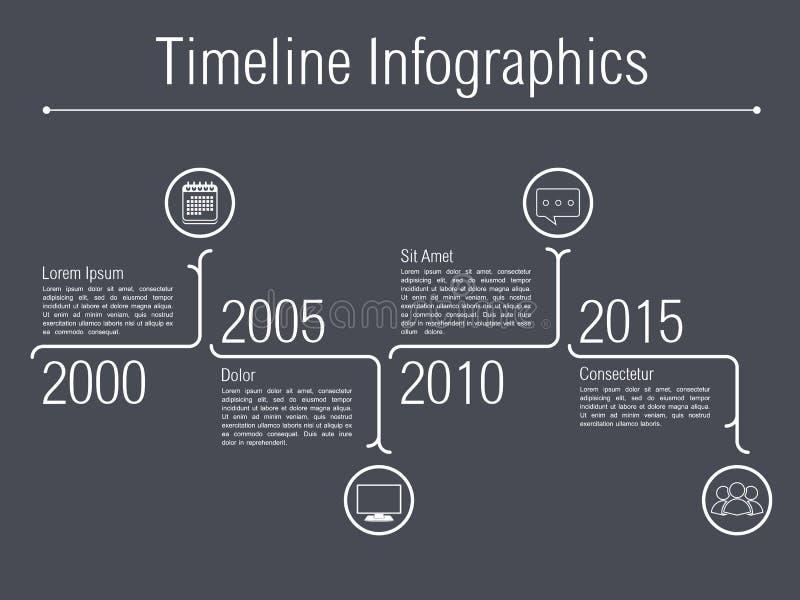 Minimale Chronologie Infographics stock illustratie