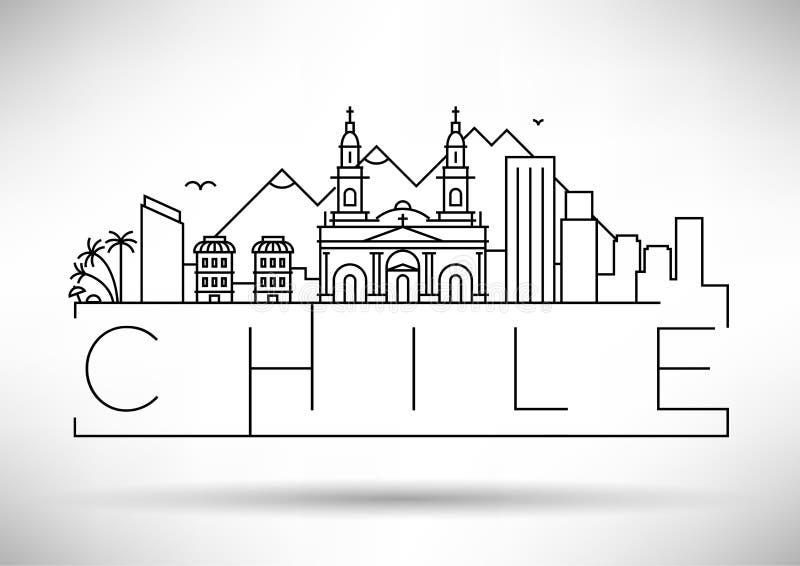 Minimale City Linear Skyline mit typografischem Design vektor abbildung