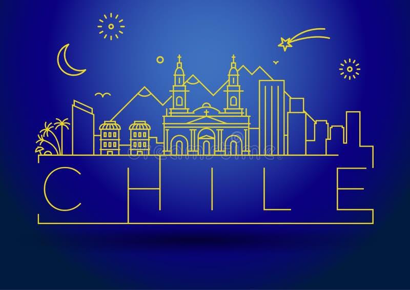 Minimale City Linear Skyline mit typografischem Design stock abbildung