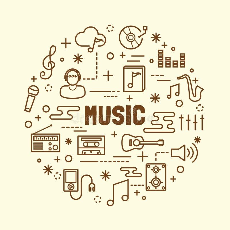 Minimale dünne Linie Ikonen der Musik eingestellt stock abbildung