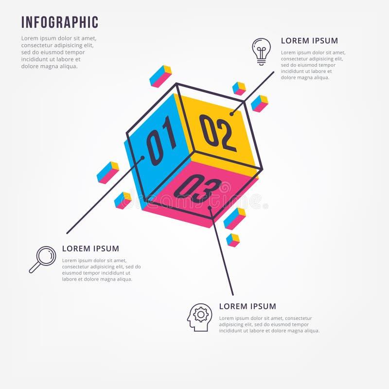 Minimale 3D informatie-grafiek royalty-vrije illustratie