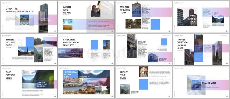 Minimale Darstellungen entwerfen, Portfoliovektorschablonen mit geometrischen neigenden Elementen des bunten Steigungsentwurfs lizenzfreie abbildung