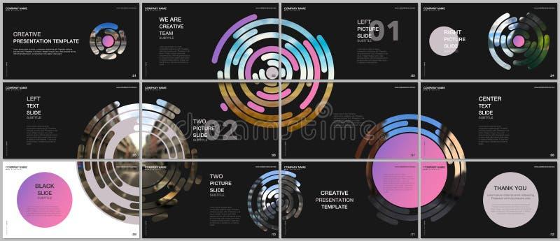 Minimale Darstellungen entwerfen, Portfoliovektorschablonen mit rosa bunten Kreiselementen auf schwarzem Hintergrund vektor abbildung