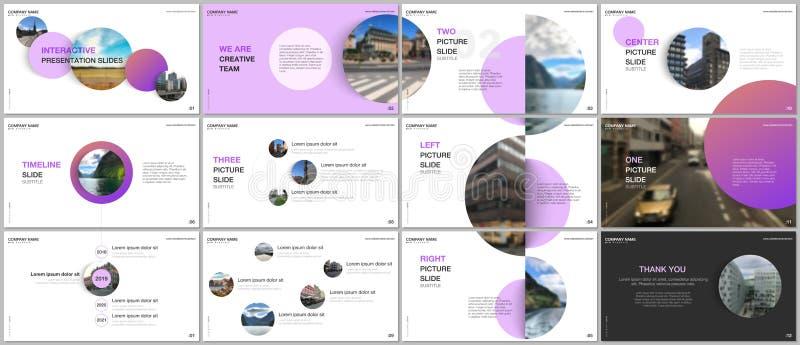 Minimale Darstellungen entwerfen, Portfoliovektorschablonen mit rosa bunten Kreiselementen auf weißem Hintergrund lizenzfreie abbildung