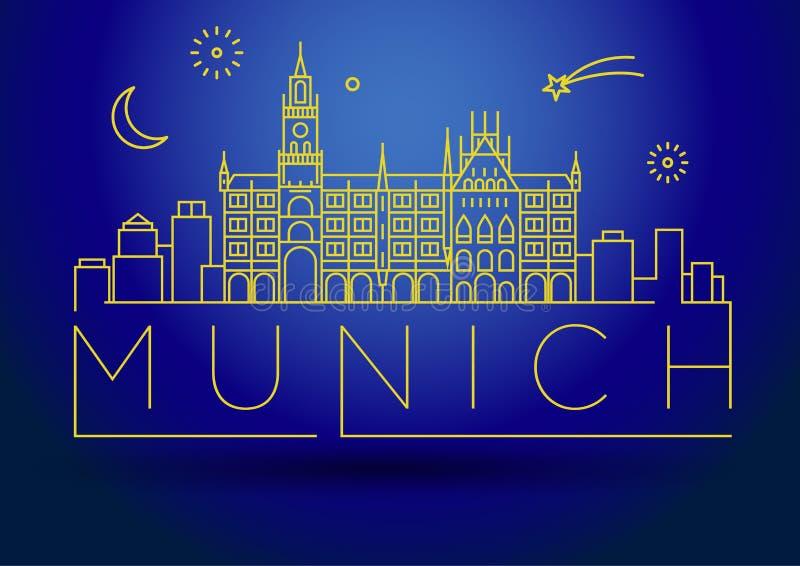 Minimale de Stads Lineaire Horizon van München met Typografisch Ontwerp stock illustratie