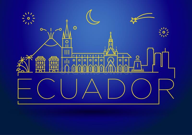 Minimale Ecuador Linear Skyline mit Typografischem Design vektor abbildung