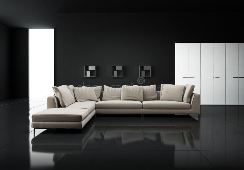 Minimale eigentijdse elegante woonkamer stock foto's