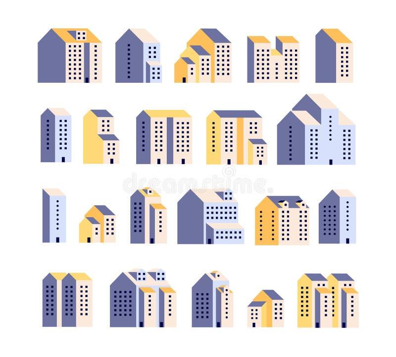 Minimale flatgebouwen Woningbouw, stedelijke stadshuizen, grafische stad Architectuur vlakke vectorelementen stock illustratie