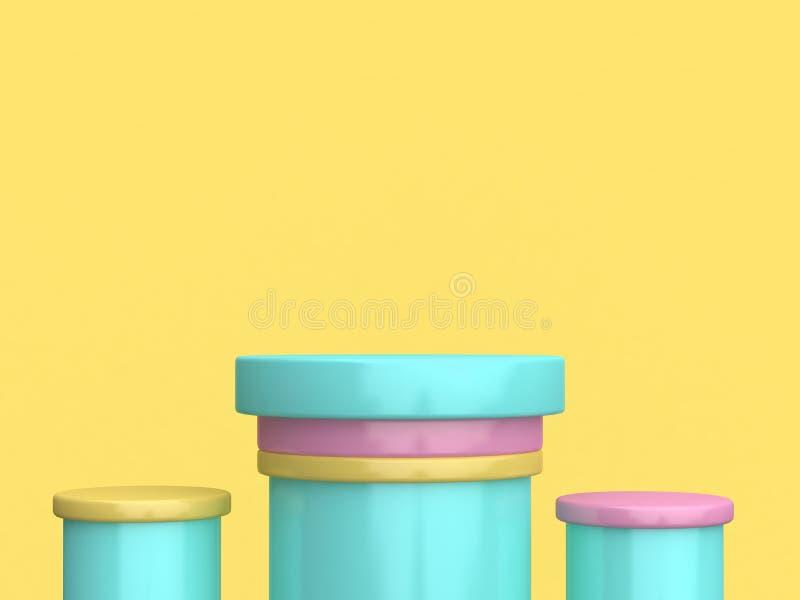 Minimale gele 3d achtergrond van het drie cilinder geeft de kleurrijke groene roze podium terug stock illustratie