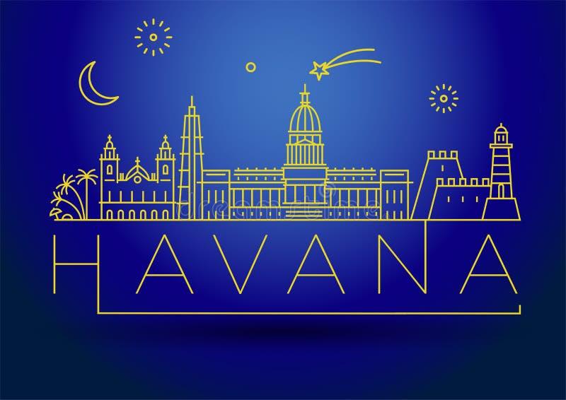 Minimale Havana City Linear Skyline mit typografischem Entwurf lizenzfreie abbildung