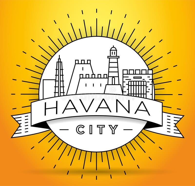 Minimale Havana City Linear Skyline mit typografischem Entwurf stock abbildung