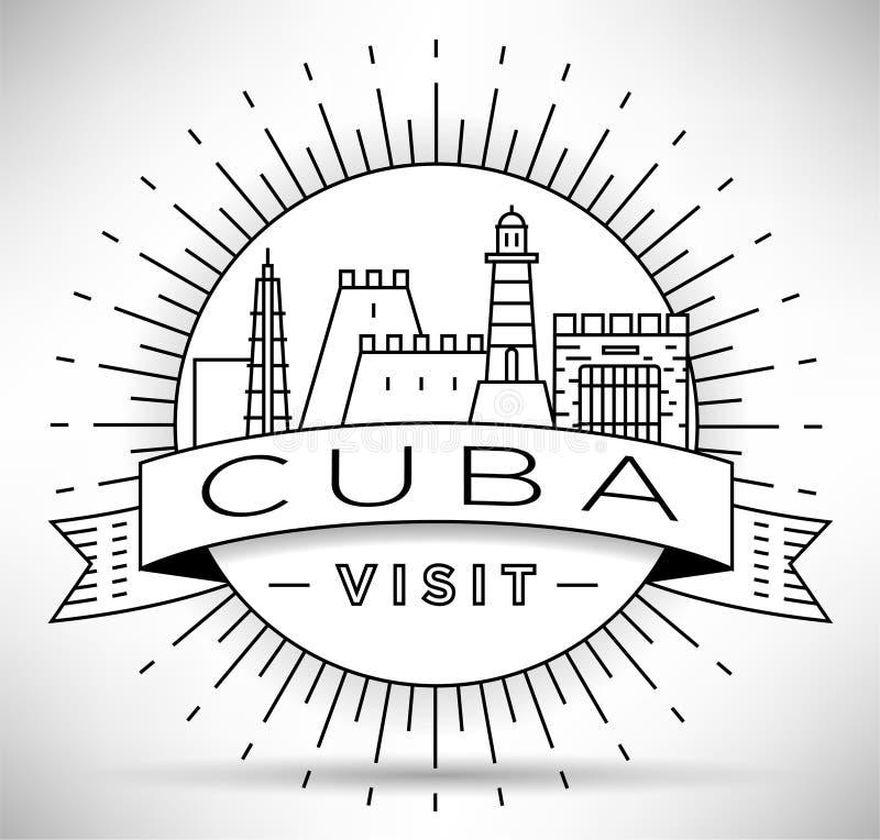 Minimale Havana City Linear Skyline mit typografischem Entwurf vektor abbildung