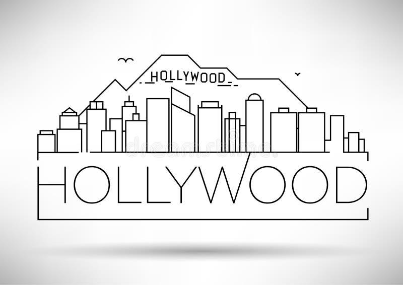 Minimale Hollywood Linear Skyline mit Typografischem Design vektor abbildung