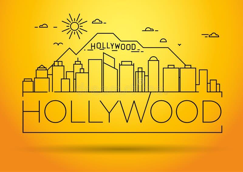 Minimale Hollywood Linear Skyline mit Typografischem Design lizenzfreie abbildung