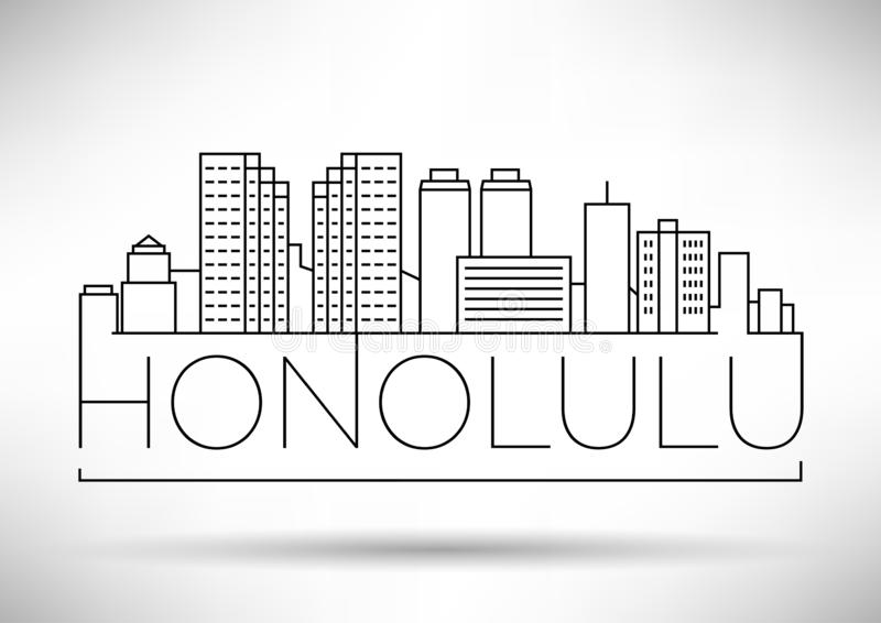 Minimale Honolulu Linear City Skyline mit Typografischem Design vektor abbildung