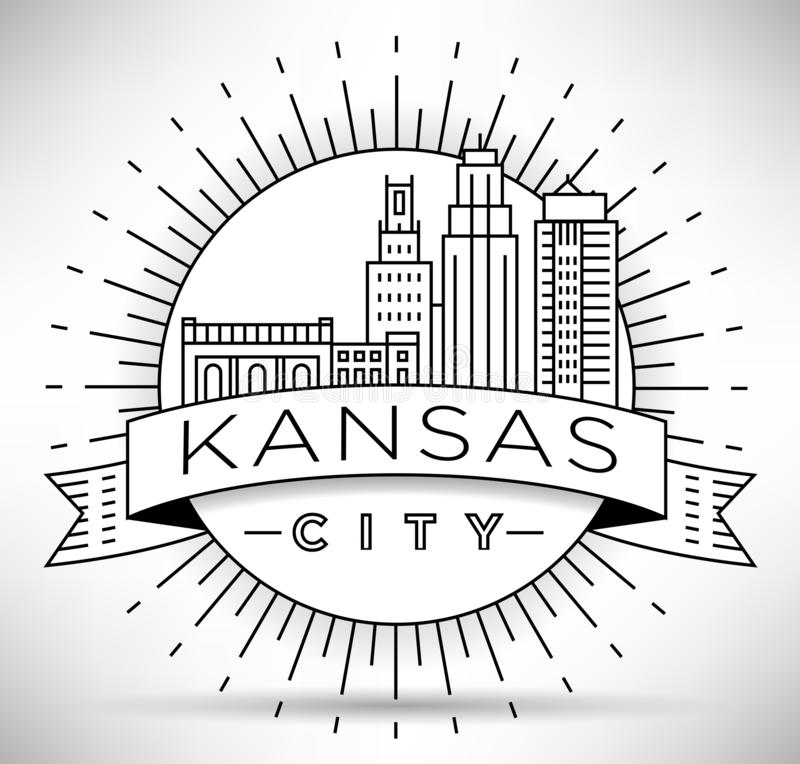 Minimale Kansas Linear City Skyline mit Typografischem Design vektor abbildung