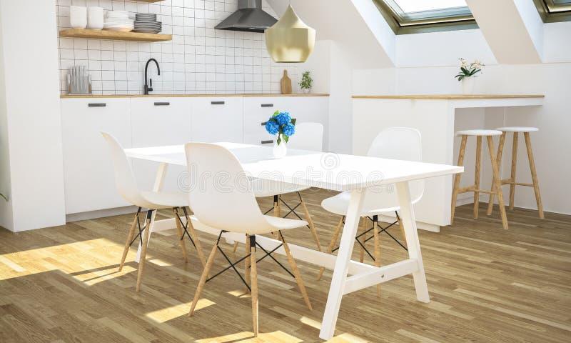 minimale keuken op zolder stock afbeeldingen