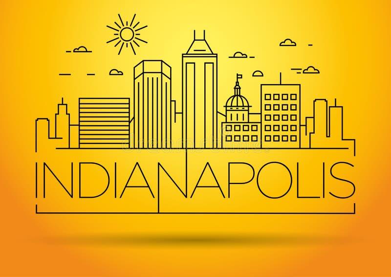 Minimale Lineaire de Stadshorizon van Indianapolis met Typografisch Ontwerp vector illustratie