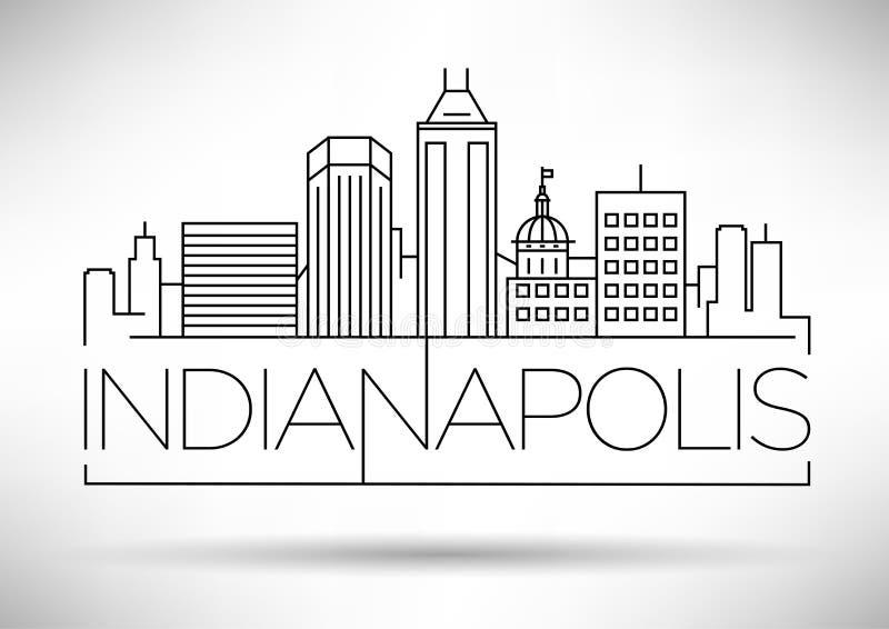 Minimale Lineaire de Stadshorizon van Indianapolis met Typografisch Ontwerp stock illustratie