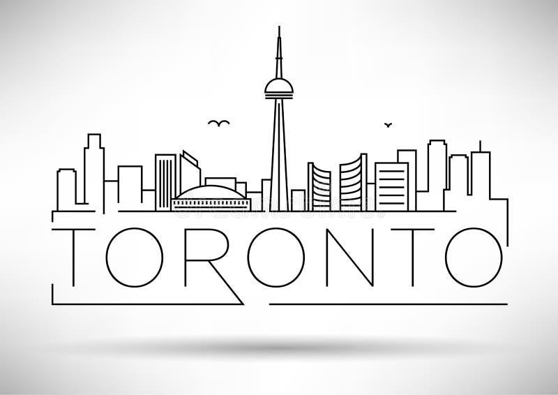 Minimale Linear Skyline von Toronto City mit typografischem Design lizenzfreie abbildung