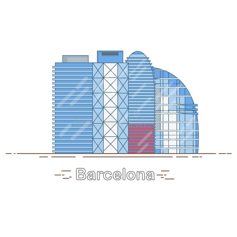 Minimale moderne Barcelona-Stadt-lineare Skyline - umreißen Sie die Stadtgebäude, linear vektor abbildung