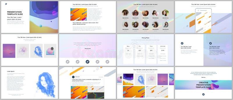 Minimale presentaties, portefeuillemalplaatjes Eenvoudige elementen op witte achtergrond Het vectorontwerp van de brochuredekking royalty-vrije illustratie