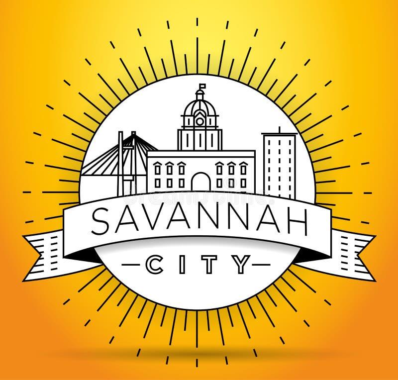Minimale Savannah Linear City Skyline mit typografischem Entwurf vektor abbildung