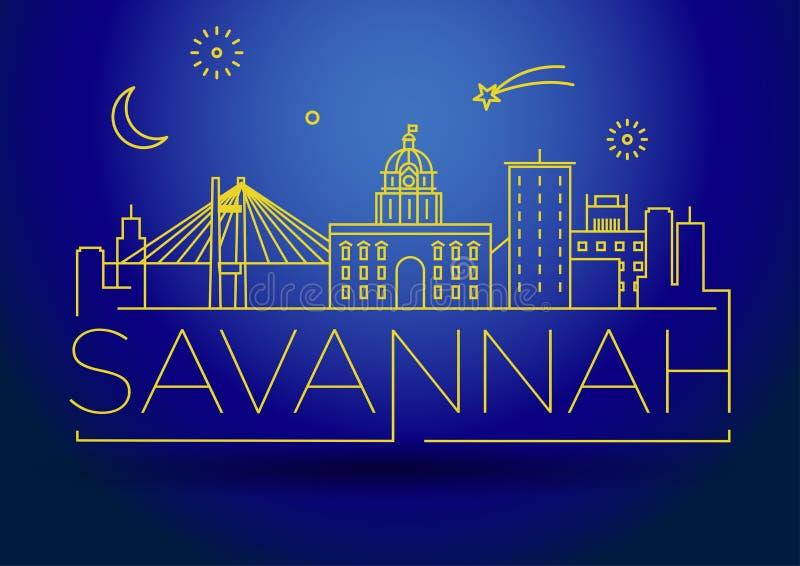 Minimale Savannah Linear City Skyline mit typografischem Entwurf lizenzfreie abbildung