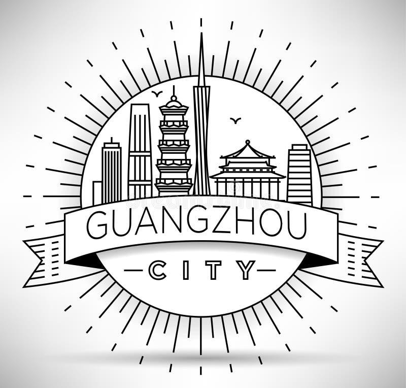 Minimale Vector Guangzhou City Linear Skyline mit Typografischem Design vektor abbildung