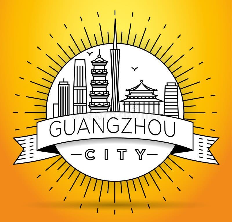 Minimale Vectorguangzhou-Stads Lineaire Horizon met Typografisch Ontwerp vector illustratie