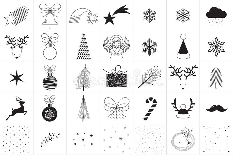 Minimale Vectorkerstmispictogrammen stock illustratie