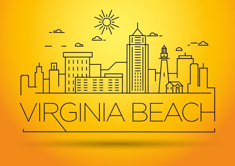 Minimale Virginia Beach Linear City Skyline mit typografischem Entwurf vektor abbildung