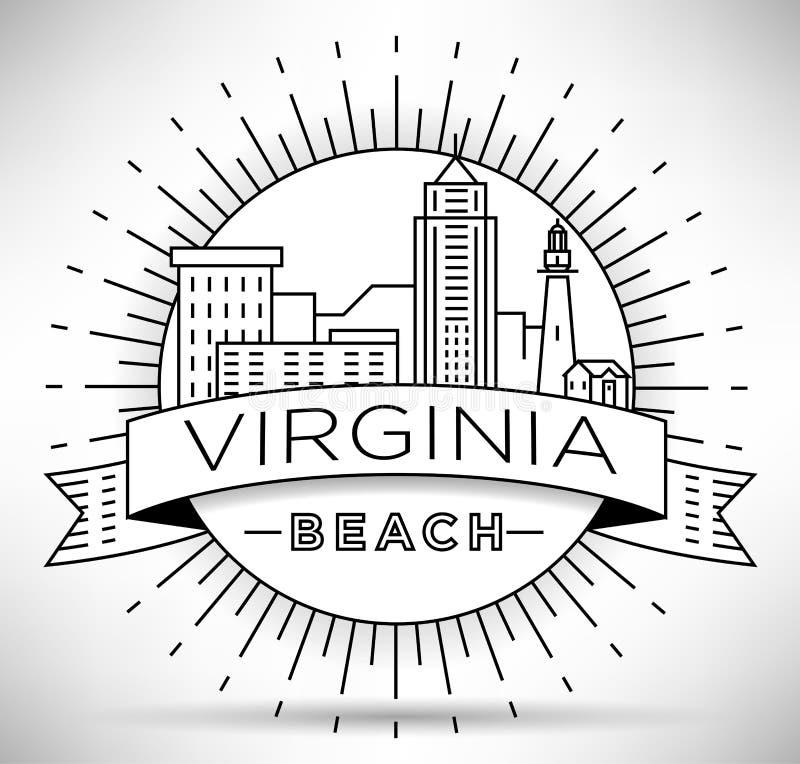 Minimale Virginia Beach Linear City Skyline mit typografischem Entwurf stock abbildung