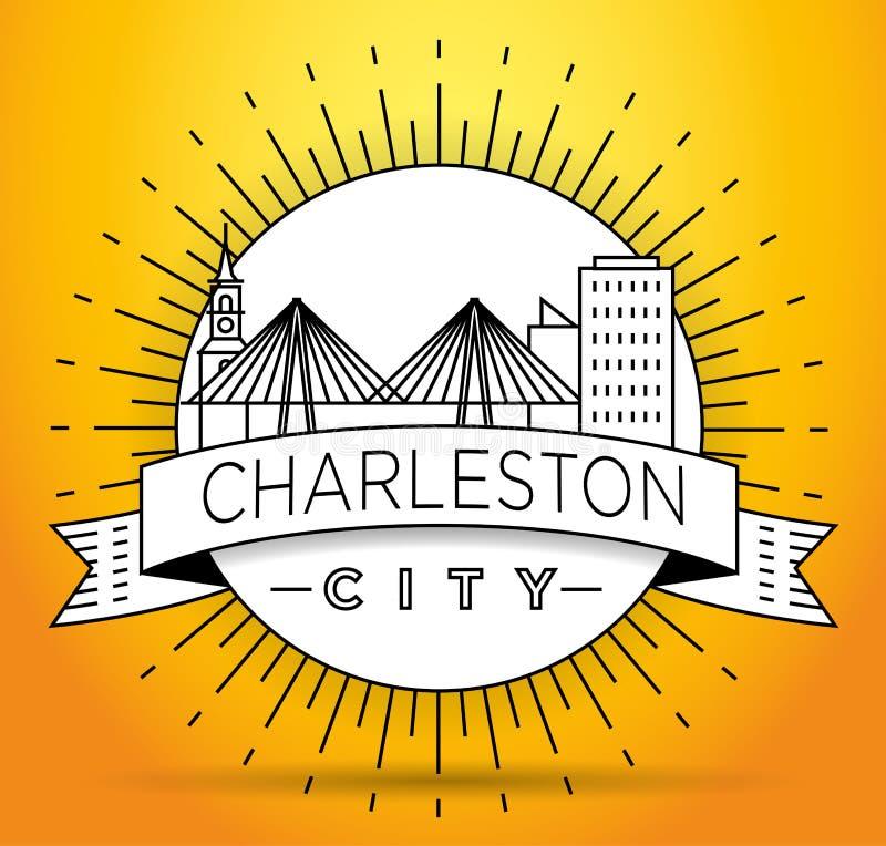 Minimaler Charleston Linear City Skyline mit typografischem Entwurf vektor abbildung
