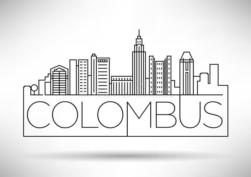 Minimaler Colombus Linear City Skyline mit typografischem Entwurf stock abbildung
