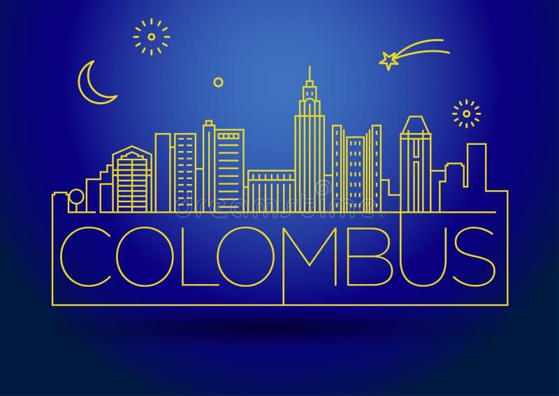 Minimaler Colombus Linear City Skyline mit typografischem Entwurf lizenzfreie abbildung