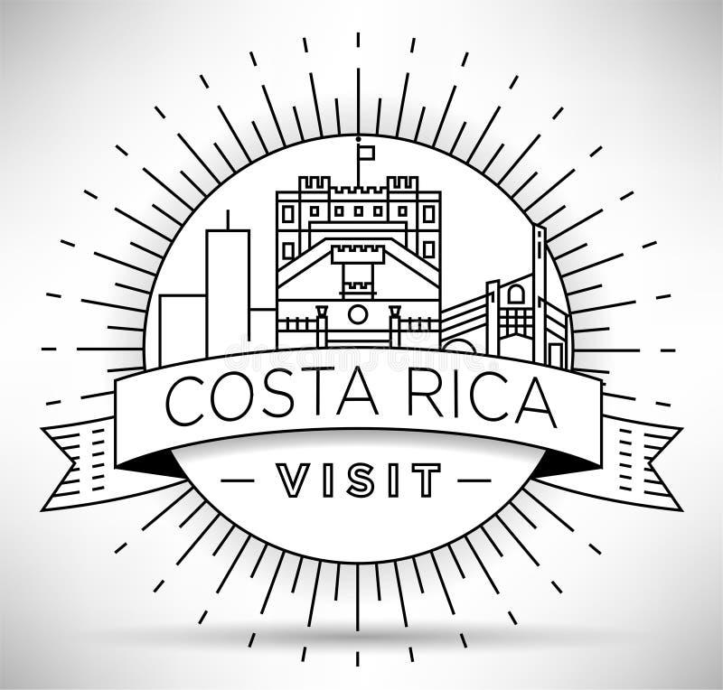 Minimaler Costa Rica Linear Skyline mit typografischem Entwurf lizenzfreie abbildung