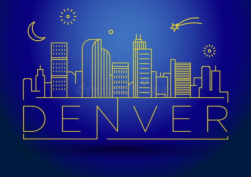 Minimaler Denver Linear City Skyline mit typografischem Entwurf vektor abbildung