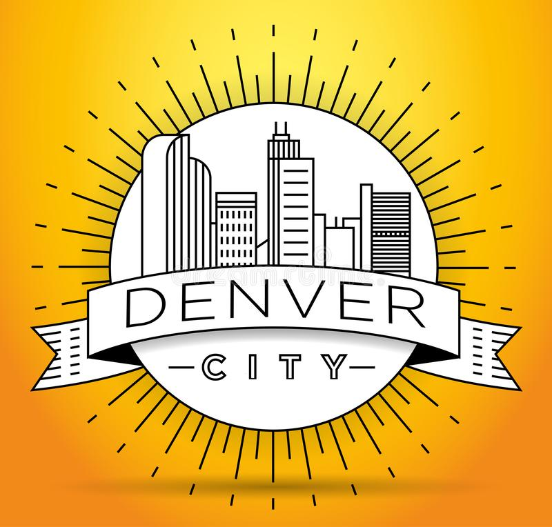 Minimaler Denver Linear City Skyline mit typografischem Entwurf lizenzfreie abbildung