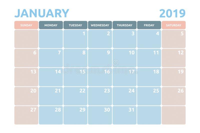 Minimaler Kalenderentwurf für Januar von 2019 lizenzfreie abbildung