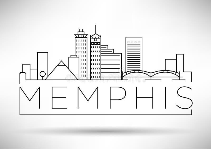 Minimaler Memphis Linear City Skyline mit typografischem Entwurf stock abbildung