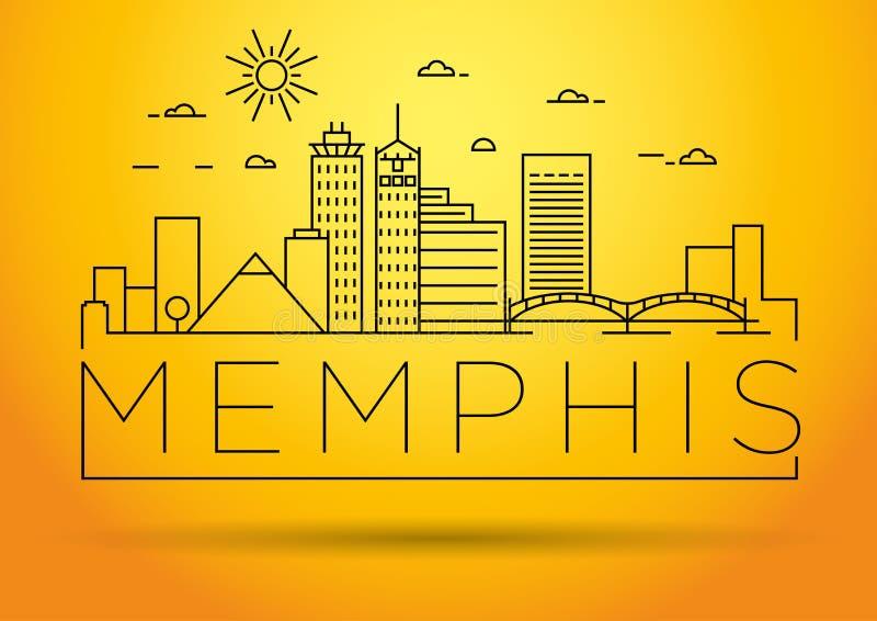 Minimaler Memphis Linear City Skyline mit typografischem Entwurf lizenzfreie abbildung