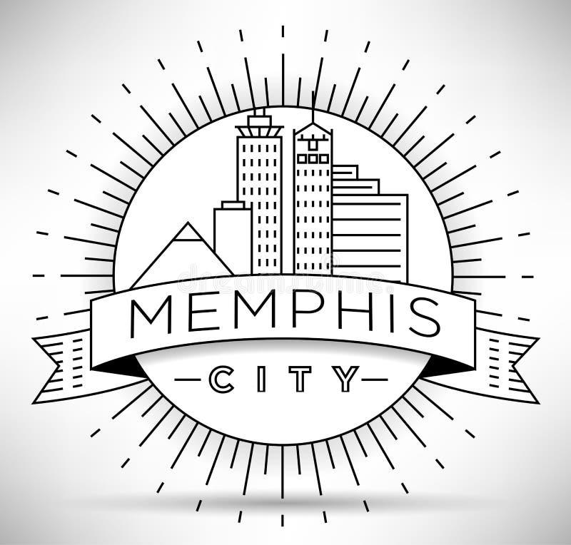 Minimaler Memphis Linear City Skyline mit typografischem Entwurf vektor abbildung