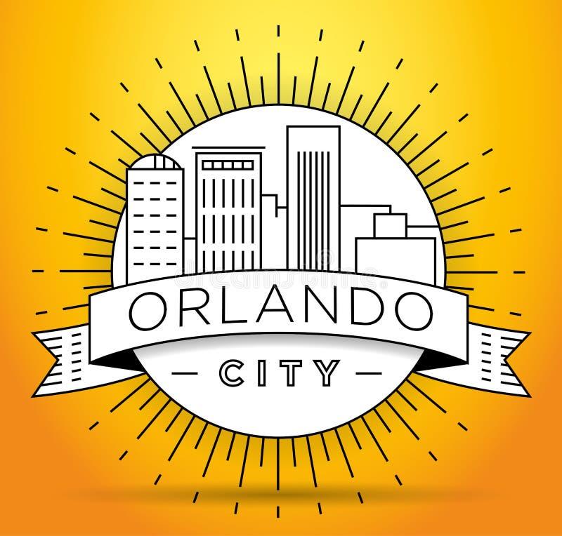 Minimaler Orlando Linear City Skyline mit typografischem Entwurf stock abbildung