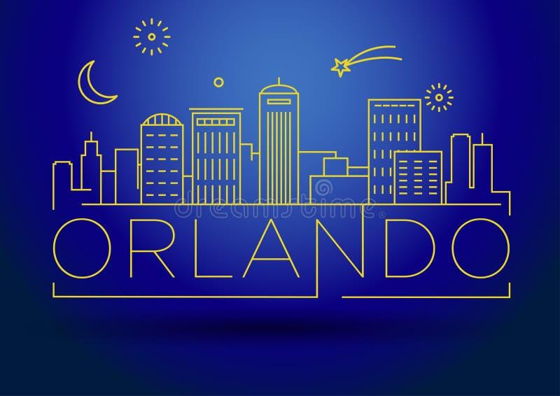 Minimaler Orlando Linear City Skyline mit typografischem Entwurf vektor abbildung