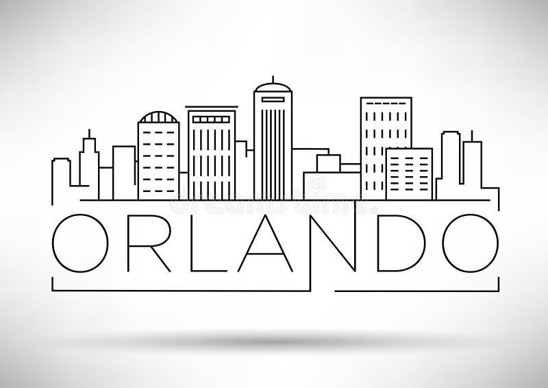 Minimaler Orlando Linear City Skyline mit typografischem Entwurf lizenzfreie abbildung