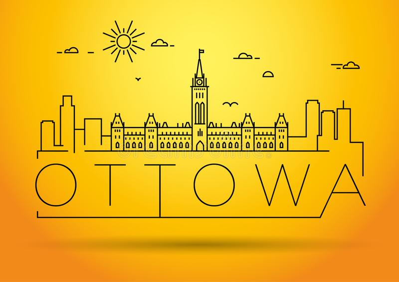 Minimaler Ottowa City Linear Skyline mit typografischem Design lizenzfreie abbildung