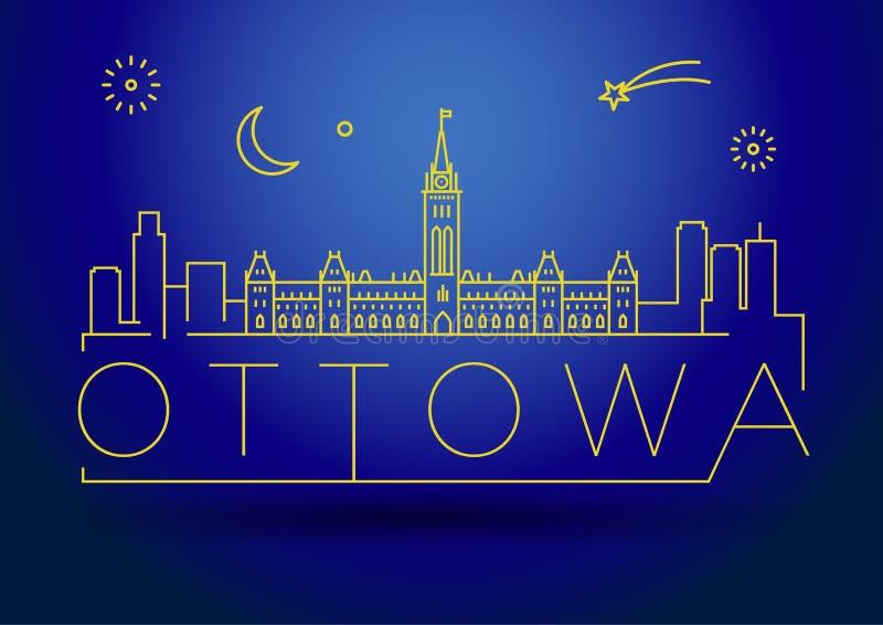 Minimaler Ottowa City Linear Skyline mit typografischem Design vektor abbildung