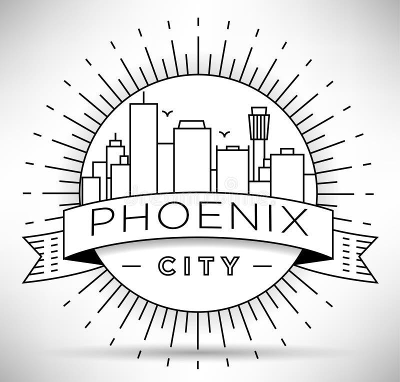 Minimaler Phoenix City Linear Skyline mit typografischem Design vektor abbildung